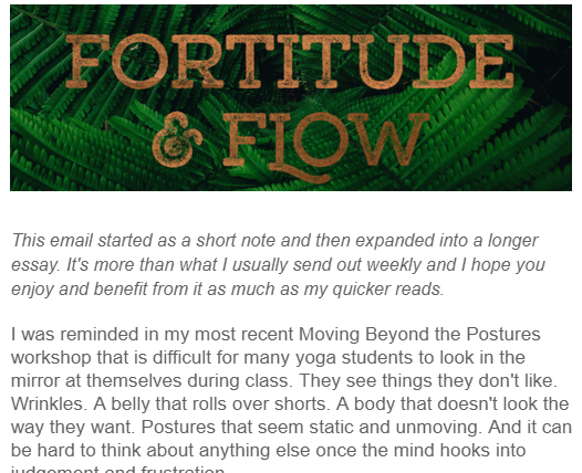 Example of Fortitude and Flow email.