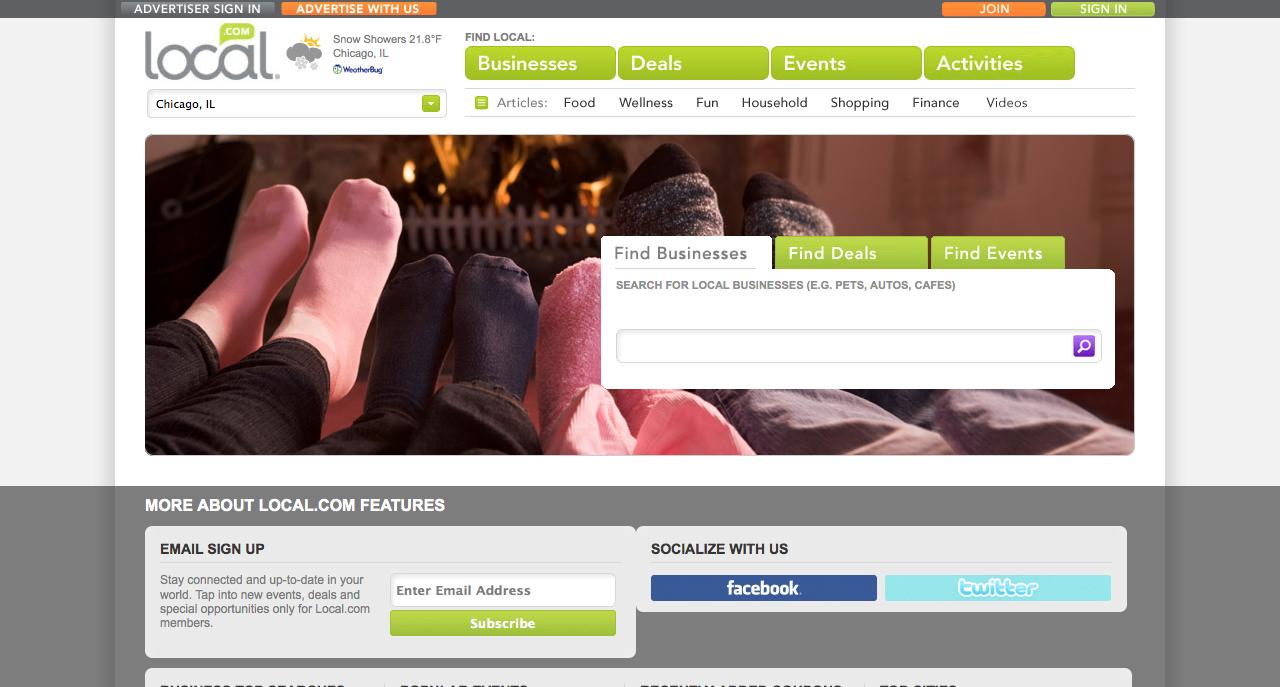 Local.com homepage