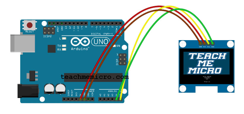 "Wiring diagram for connecting 1.3"" I2C OLED with Arduino UNO"