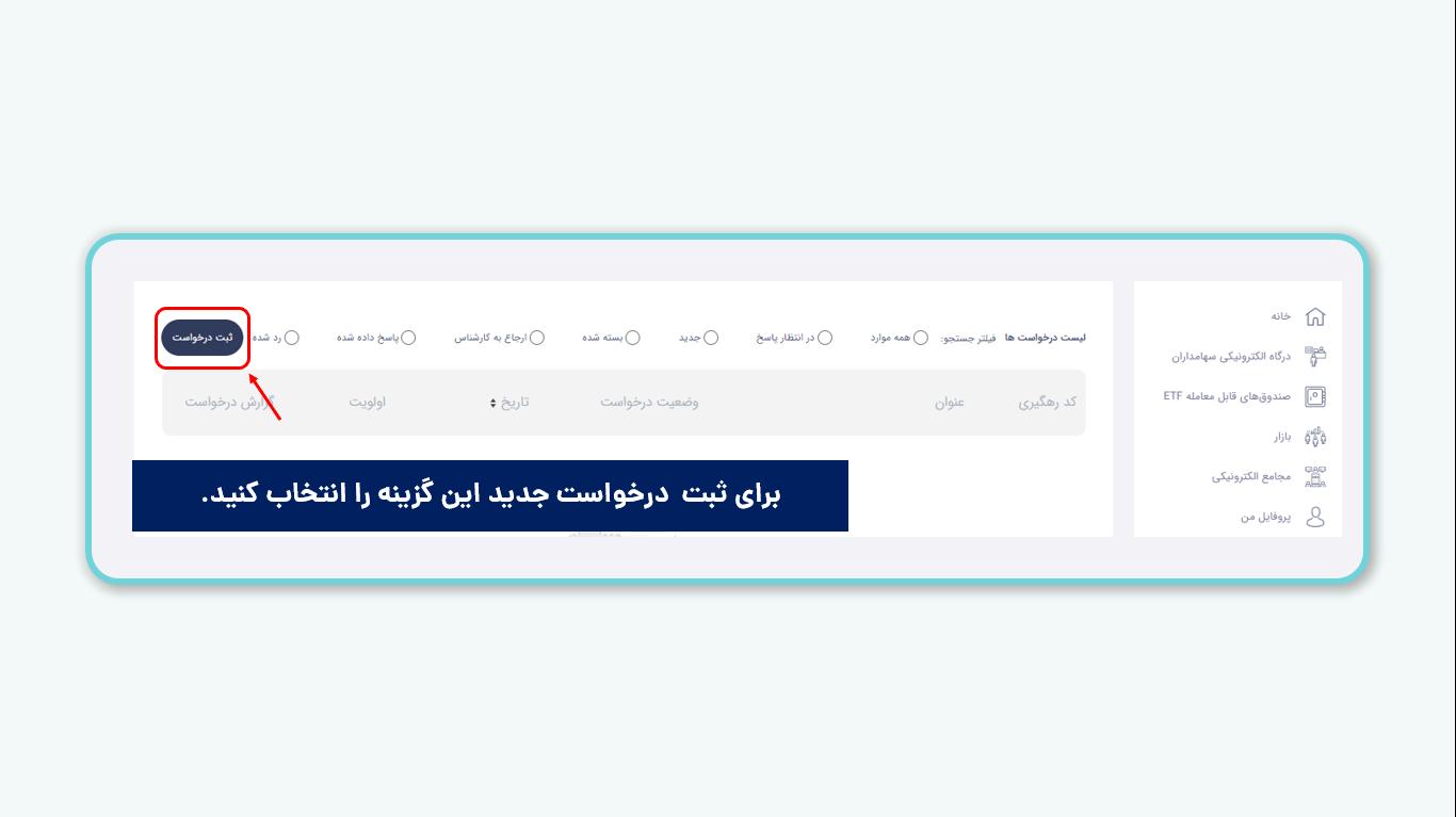 ثبت درخواست تجمیع کد بورسی