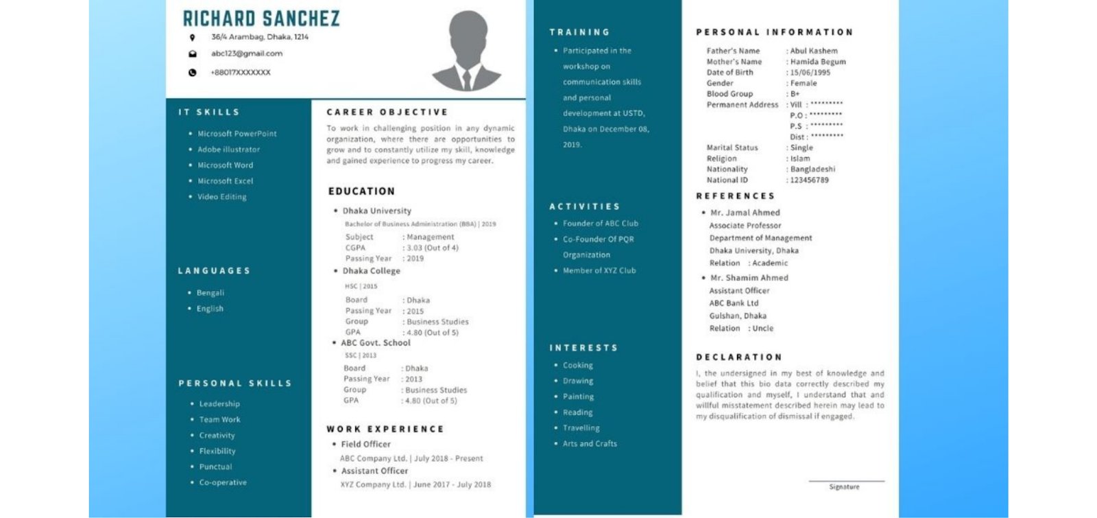 Here are some resume samples