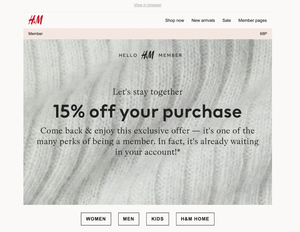 Email campaign example: H&M