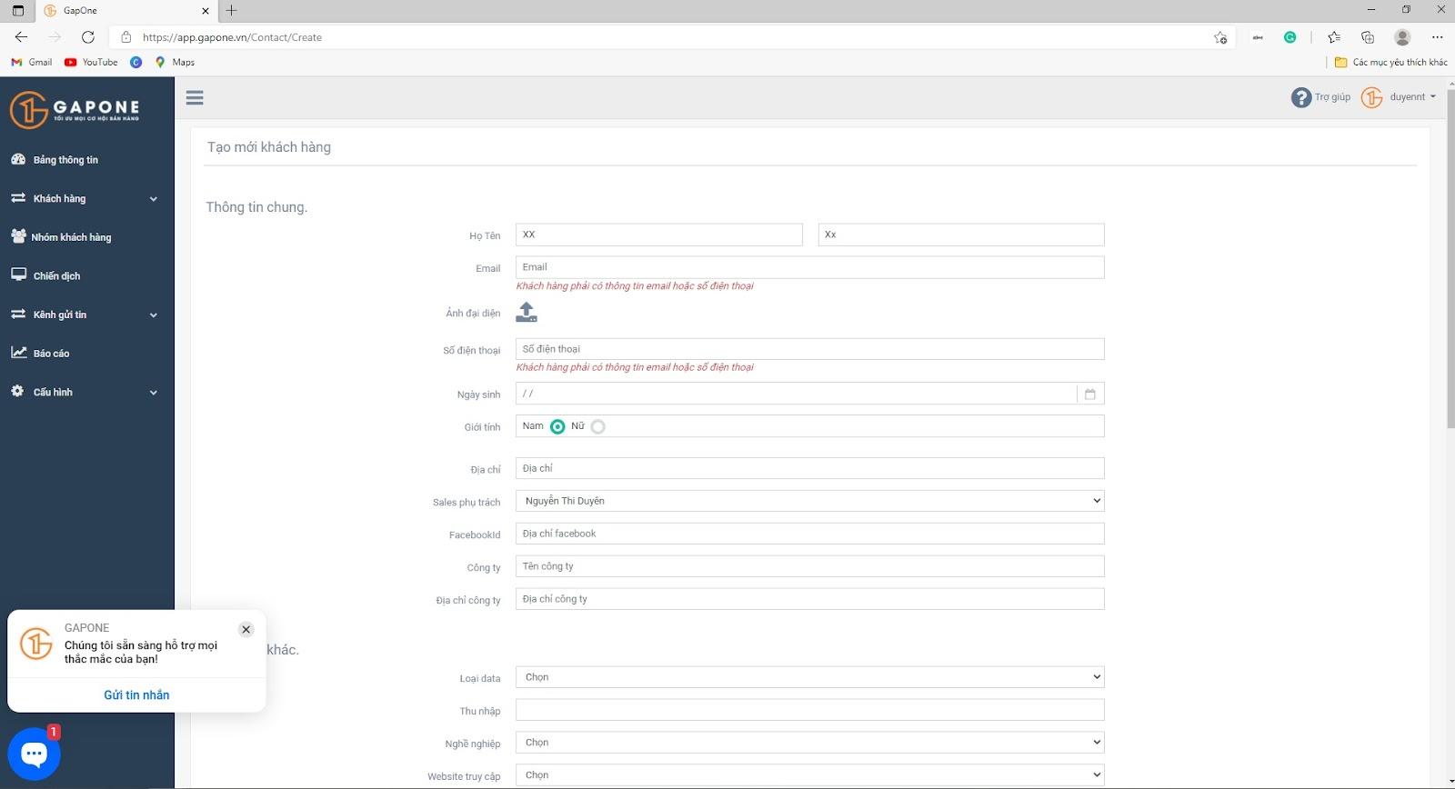 Hướng dẫn thêm từng cá thể khách hàng trên GAPONE 03