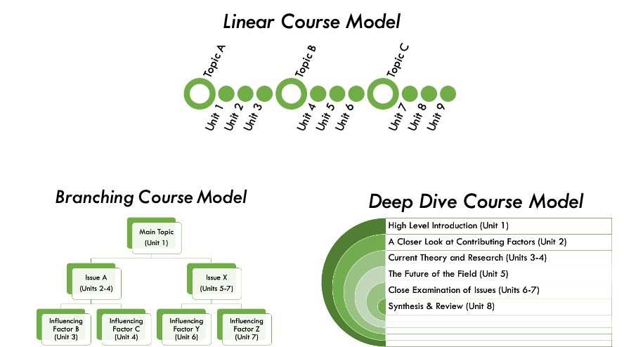 Linear Course Model; Branching Course Model; Deep Dive Course Model