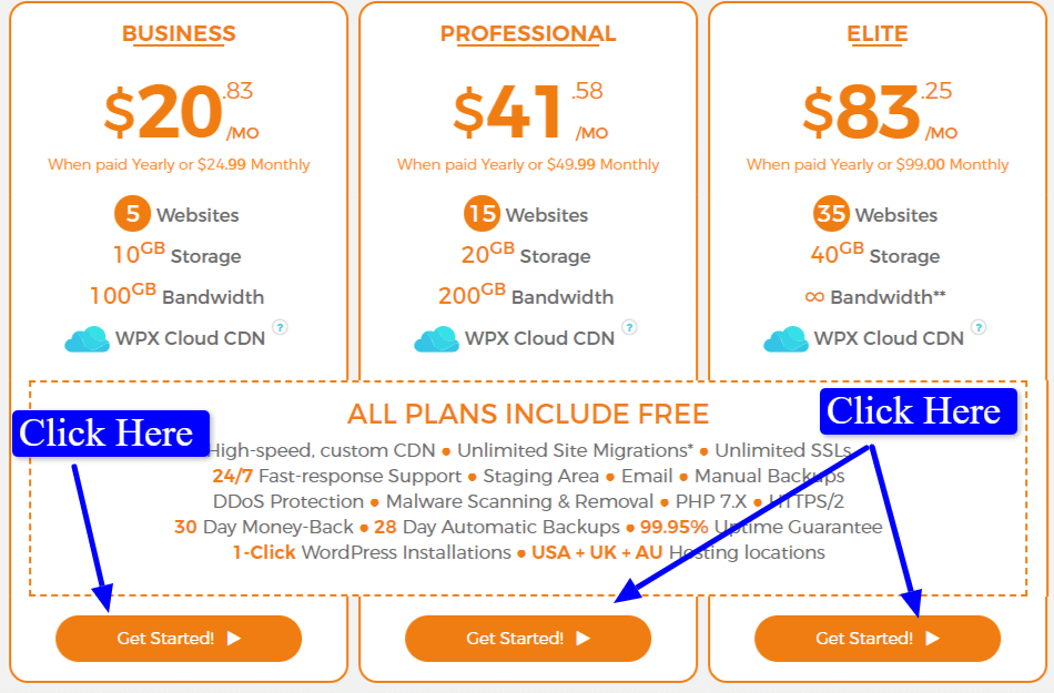 wpx hosting plans  and pricing