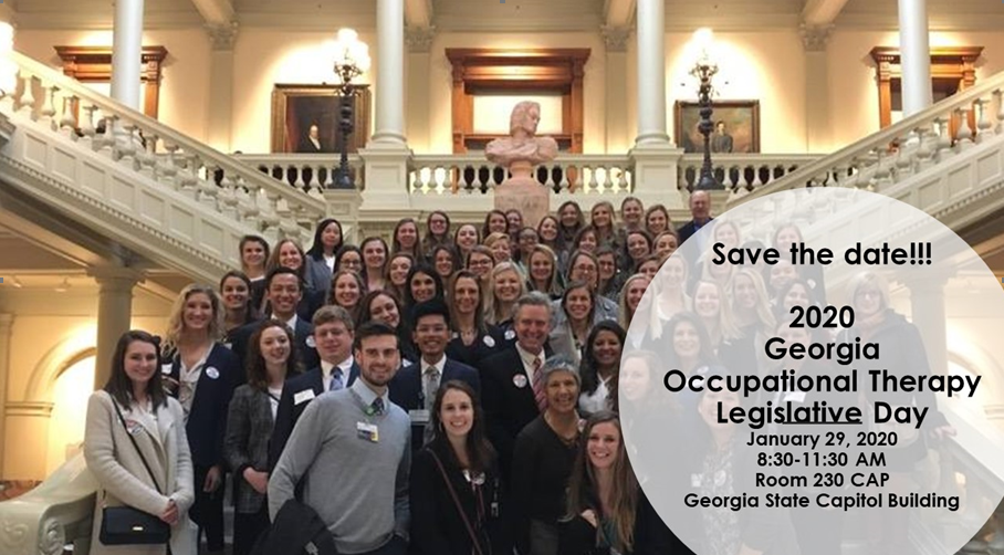 """About 40 to 50 GOTA members stand inside the capital smiling during 2019 OT Legislative Day in GA. In the right lower corner of the photo a white circle states """"save the date! 2020 Georgia Occupational Therapy Legislative Day Jan 29th 2020, 8:30-11:30am room 230 CAP Georgia State Capital Building"""""""