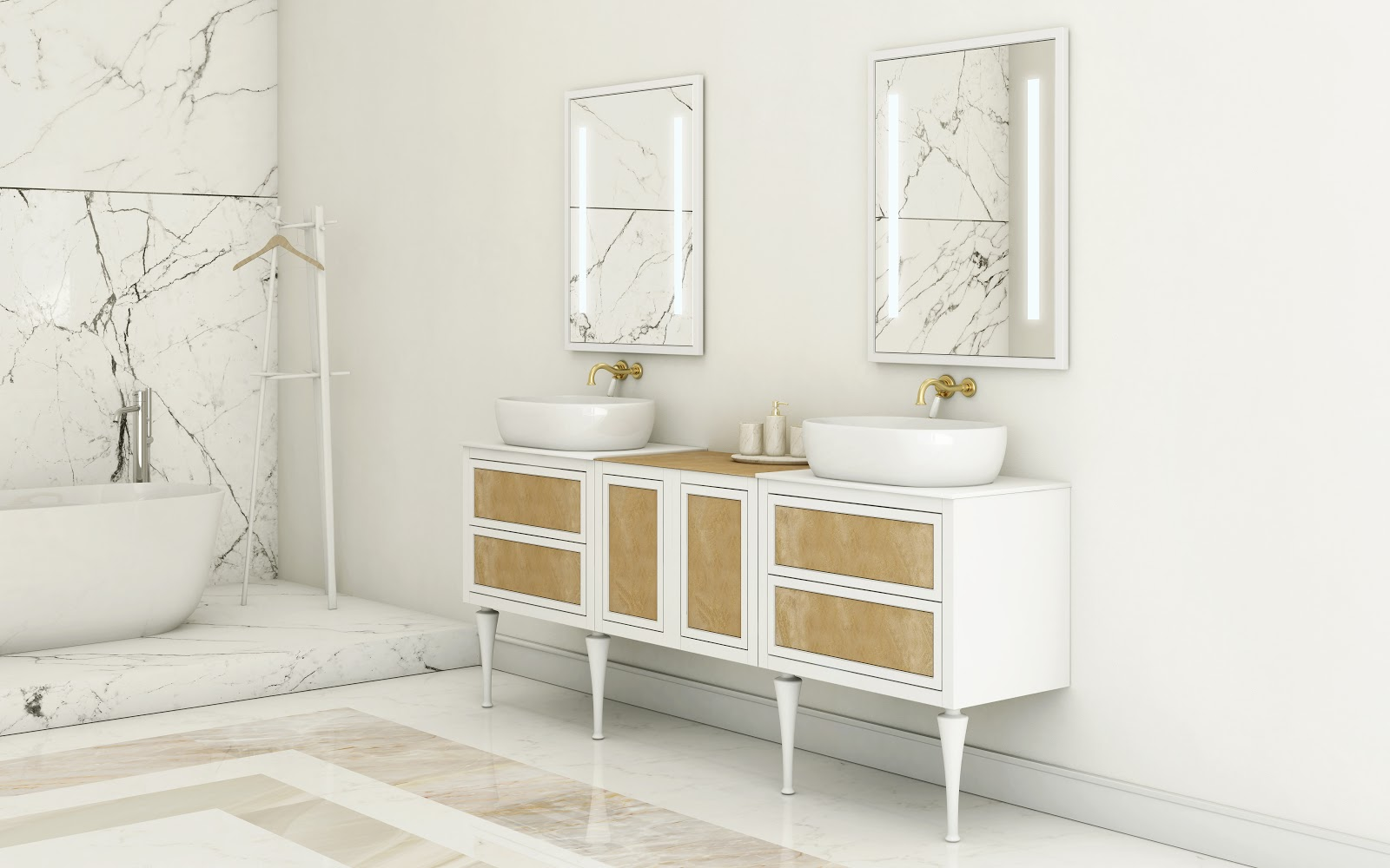Stunning The golden shimmering glass brings that ugolden age u feel to the bath ud says the designer