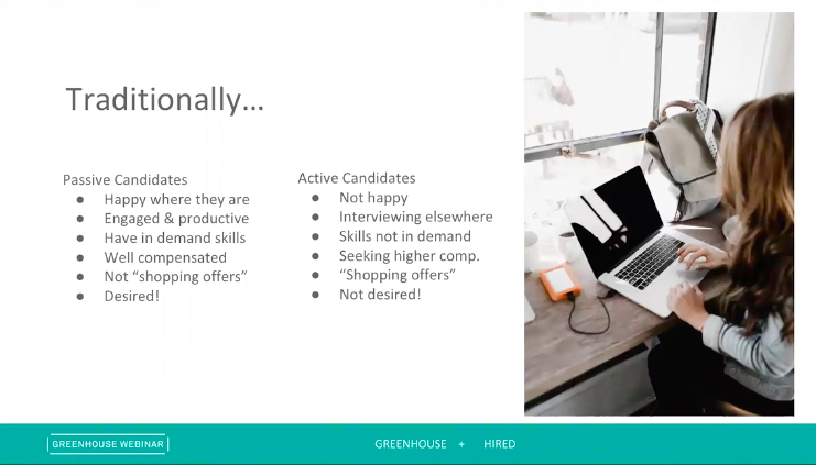 Sample slide on on active vs. passive candidates from the Digging Deep: Growing Responsibly webinar