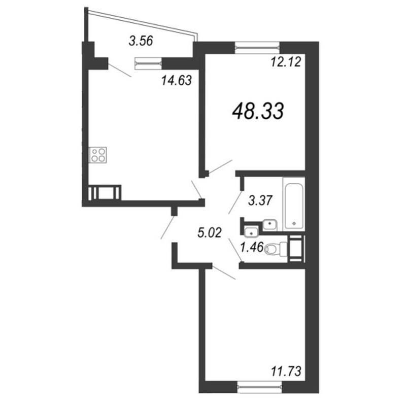 Двусторонняя двушка с асимметричным балконом