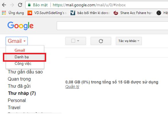 Khôi phục danh bạ qua việc đồng bộ hóa tài khoản gmail