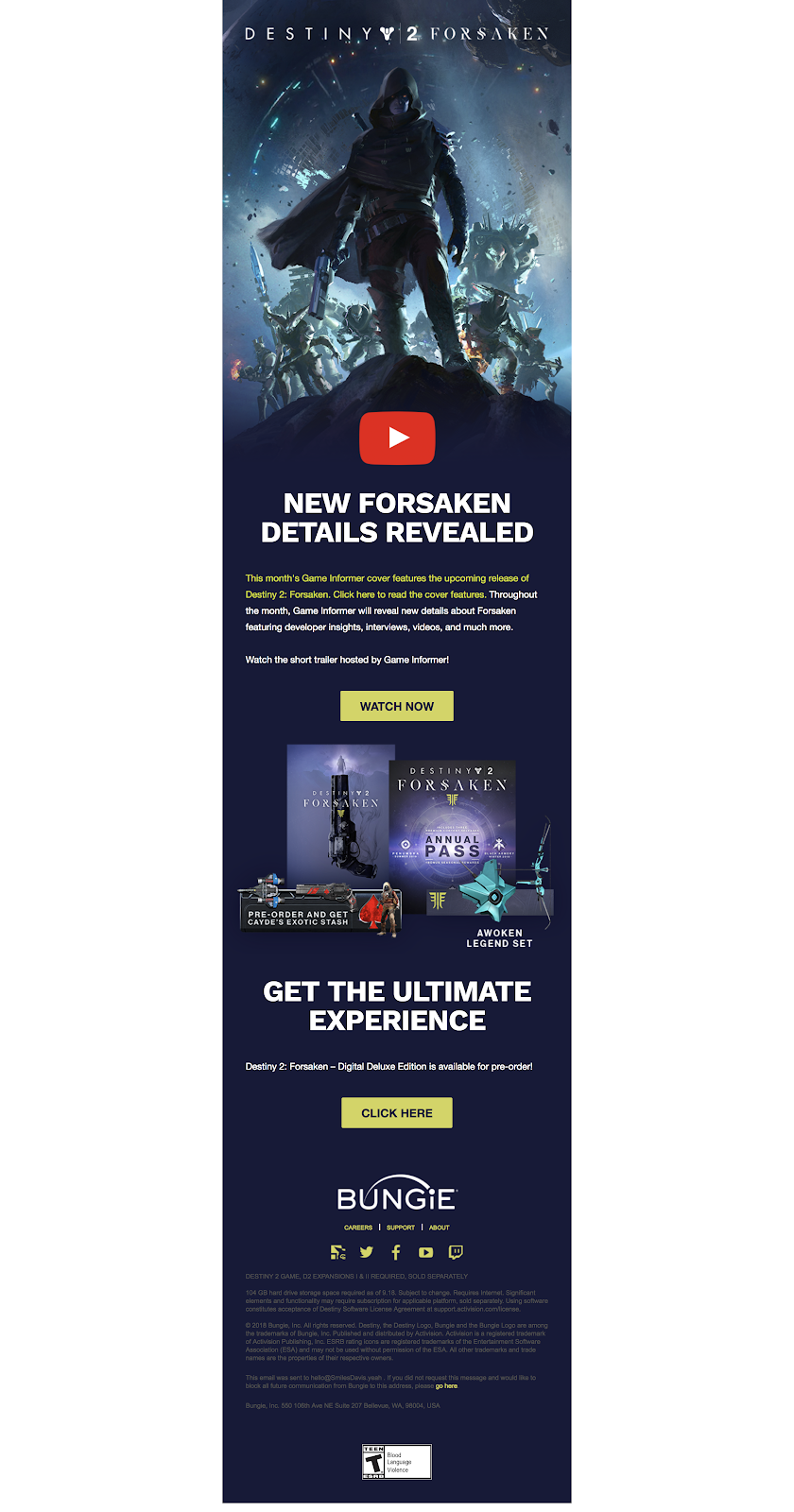 Example of Ubisoft email with clear CTA's.