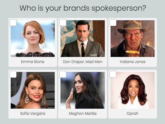 Who is your brand spokesperson? quiz question with celebrity and fictional characters images