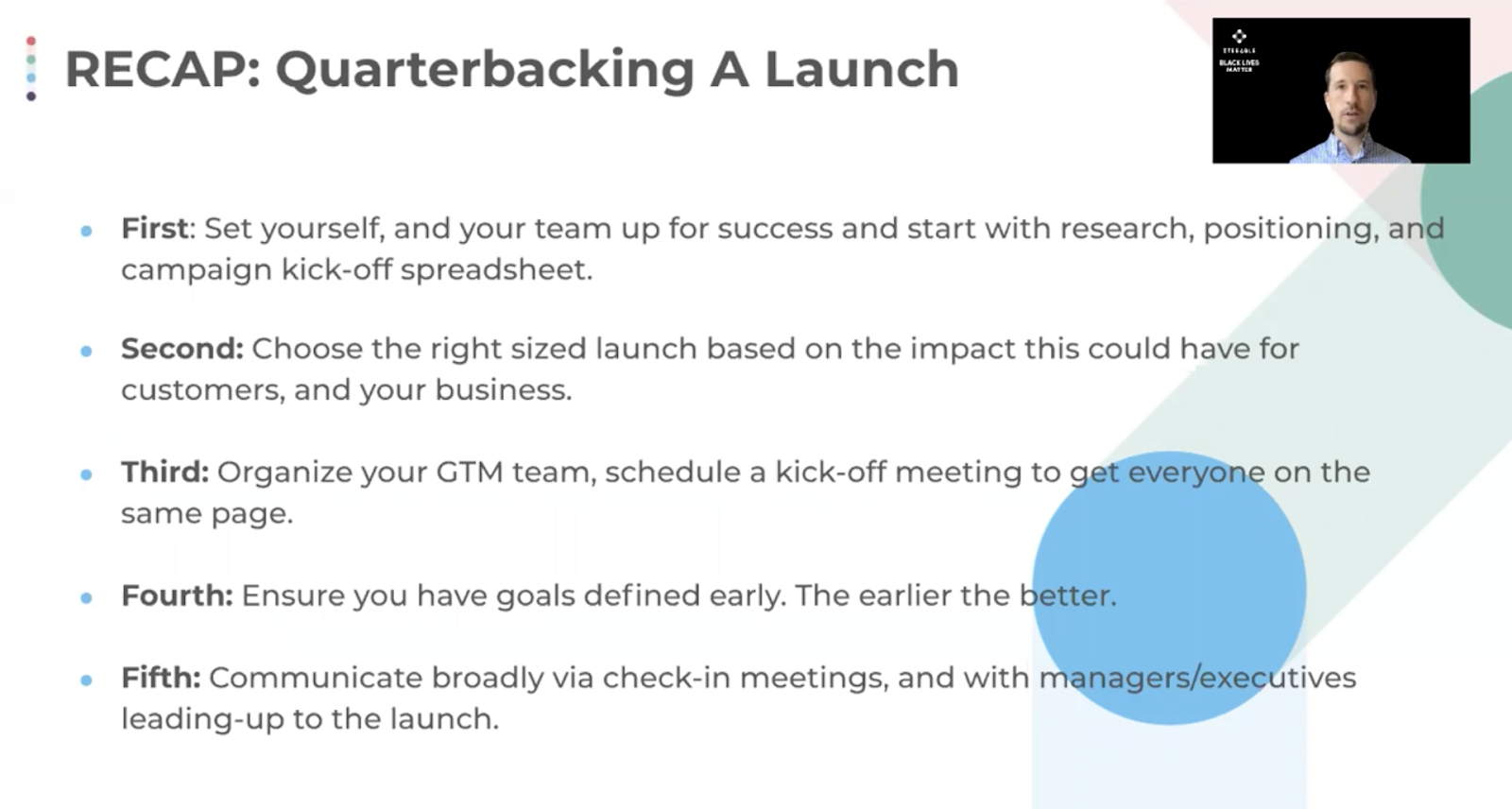 A summary of the key points outlined by Jeffrey Vocell on how to quarterback a launch.