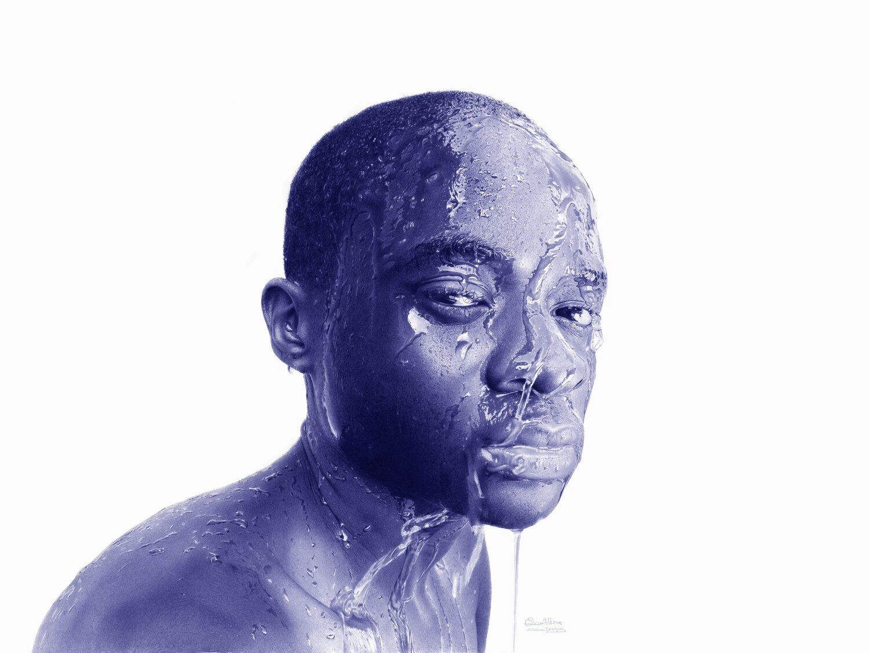 blue portrait of wet man