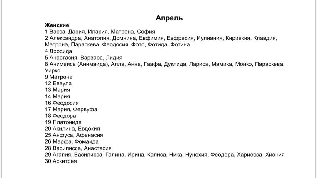 Список женских имен по святцам - апрель месяц