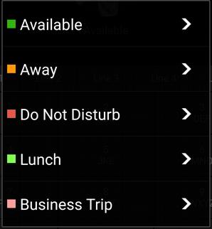 """Menú de Opciones """"Establecer Estado"""" en la app Android de 3CX"""