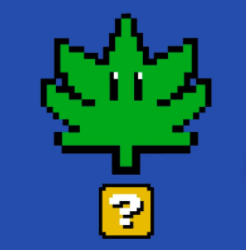 Picture of a marijuana leaf coming out of a question box from Super Mario Brothers video game