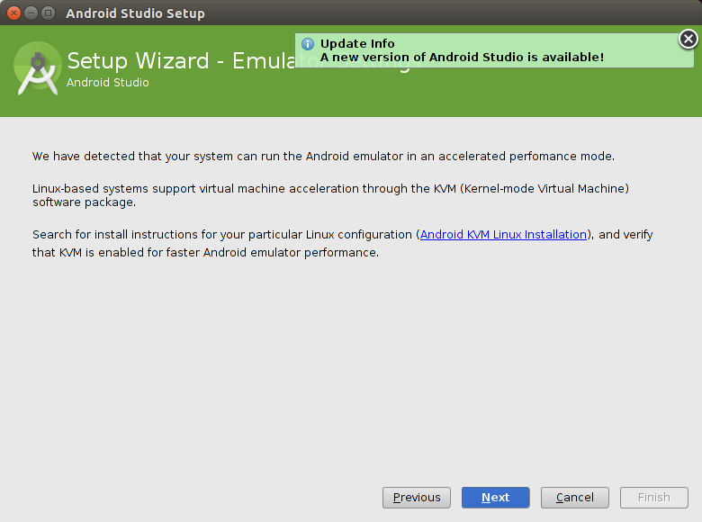 Configuration wizard of Android Studio