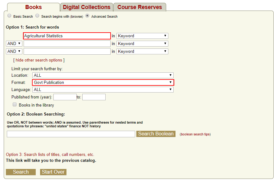 """Example search for keyword """"Agricultural Statistics"""" limited by Format: """"Govt Publication"""""""