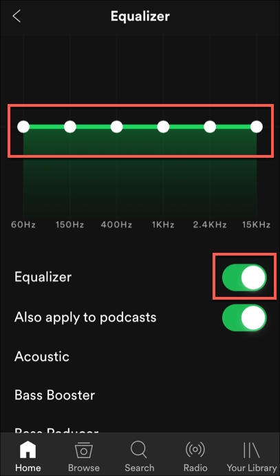 The equalizer settings for Spotify on iOS