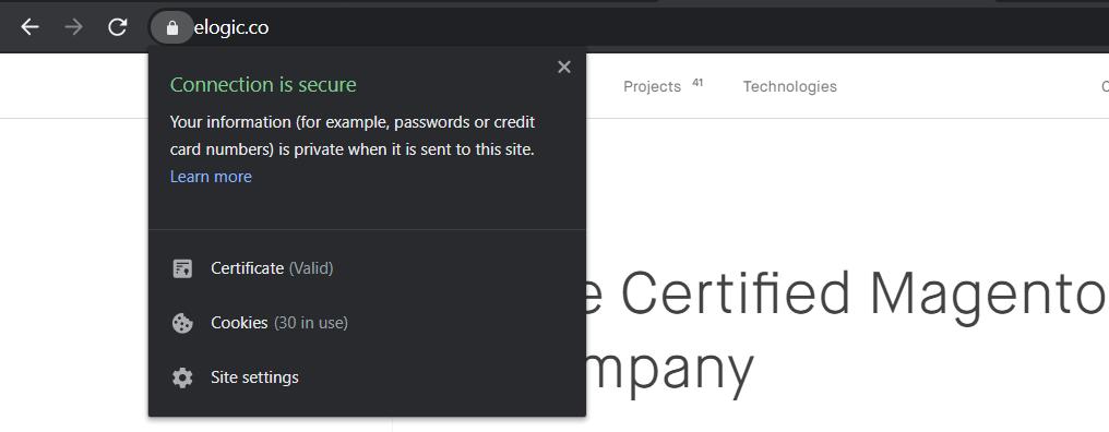 An SSL-certified website.