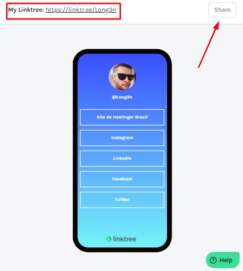 exemplo de perfil configurado e personalizado no Linktree