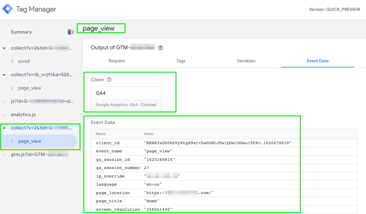 Screenshot of sGTM preview mode where you can see the event data object created by the GA4 client from the incoming page_view request.