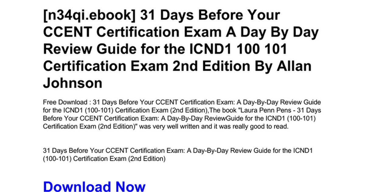 31 Days Before Your Ccent Certification Exam A Day By Day Review
