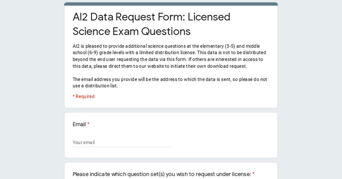 AI2 Data Request Form: Licensed Science Exam Questions