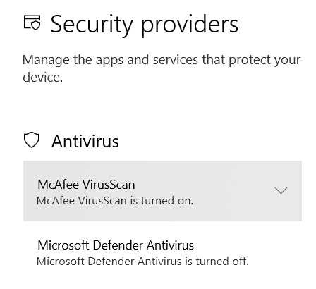 The enabled and disabled antivirus programs in the Security Software settings