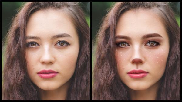 Antes e depois da foto de uma mulher morena onde uma das fotos está com a maquiagem Vixen, de rena, do AirBrush