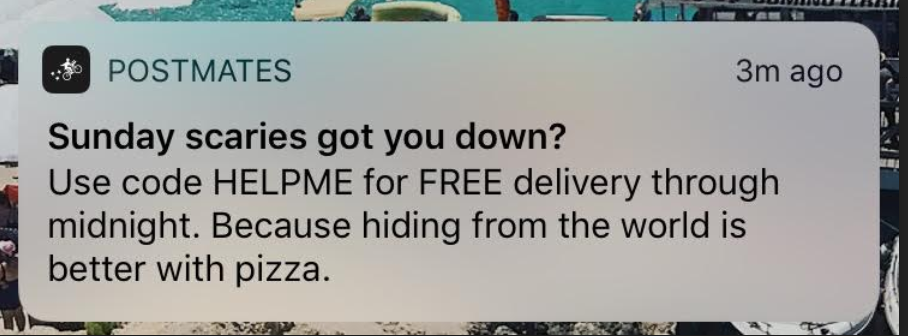 notification from Postmates