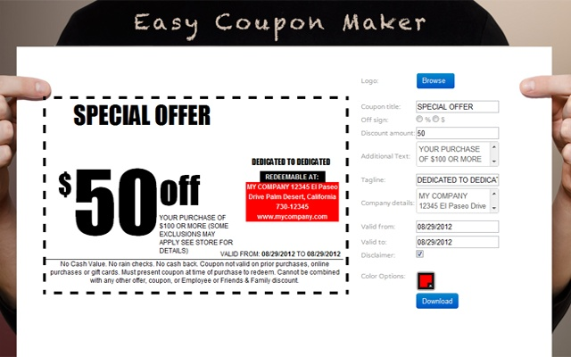 custom coupons free template - coupon maker chrome web store