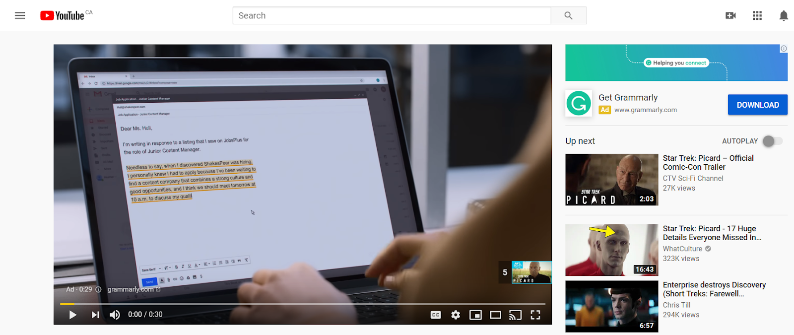A picture of a video ad playing before a video on YouTube.