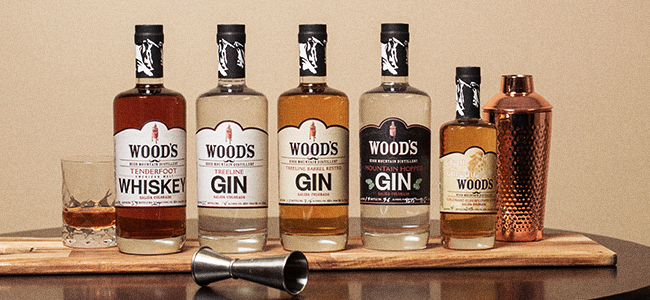Five different bottles in the Wood's High Mountain Distillery range.