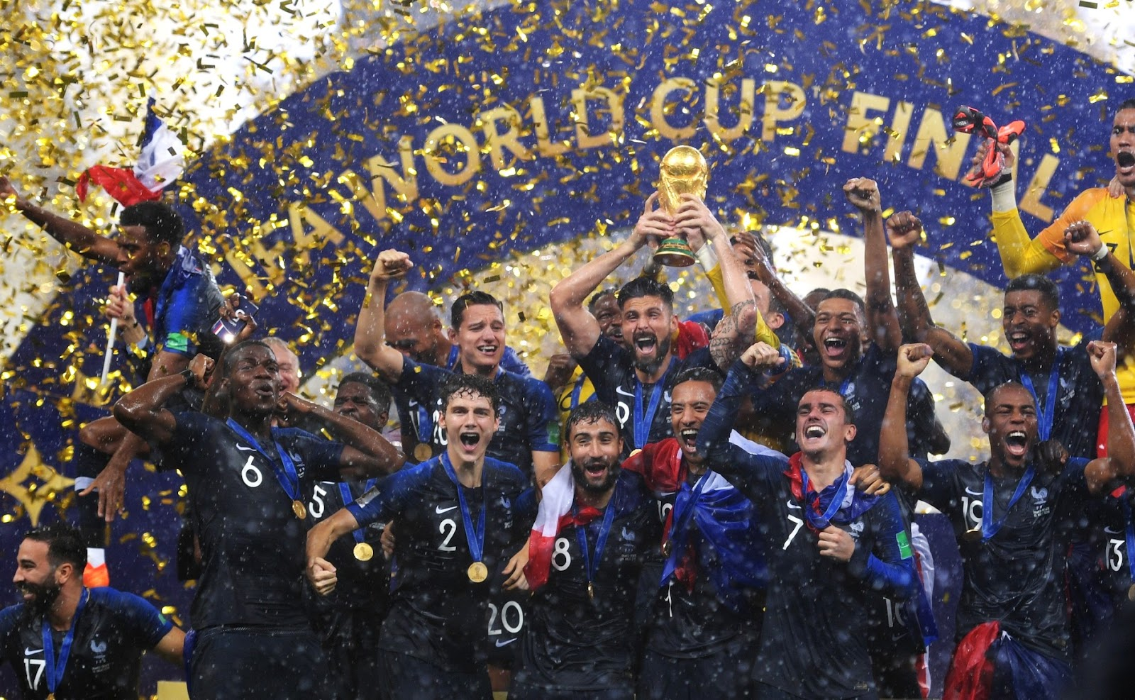 France celebrating the 2018 World Cup (where is soccer most popular?)