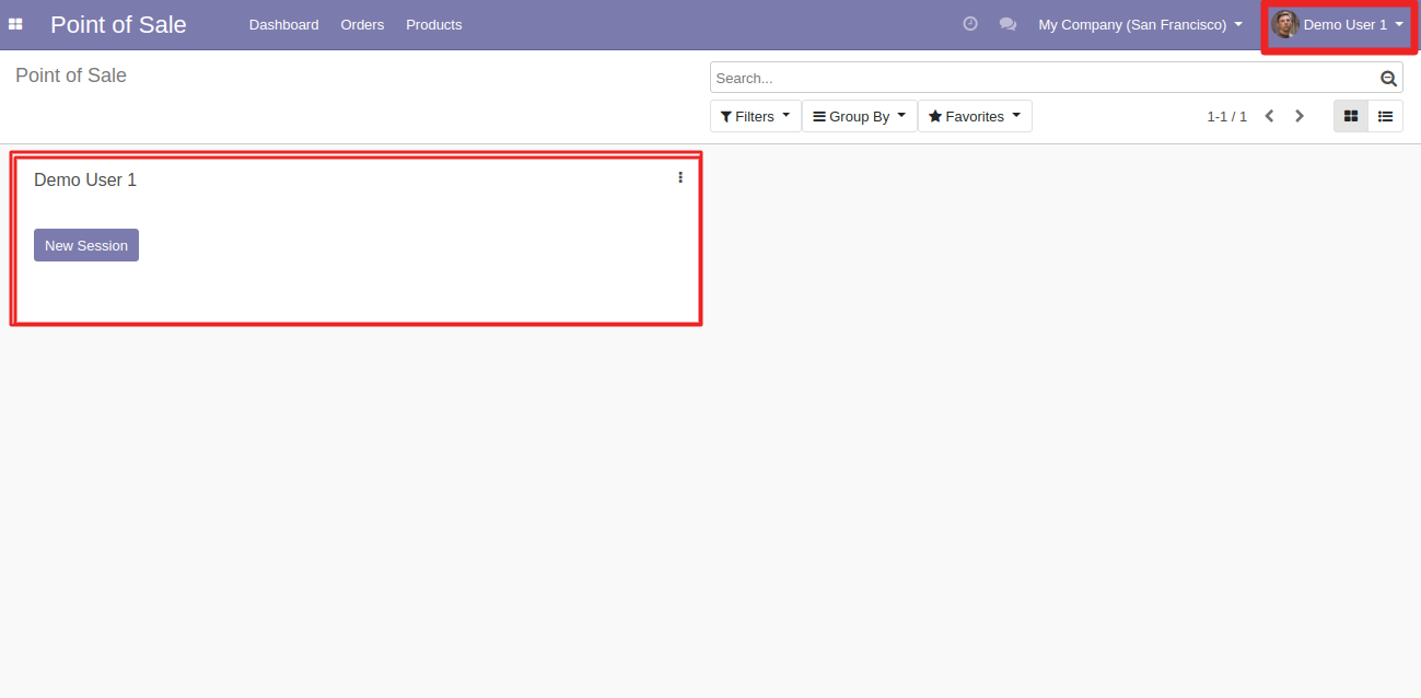 Here is the view of that user along with assigned POS session. and is Restrict User To Default POS.