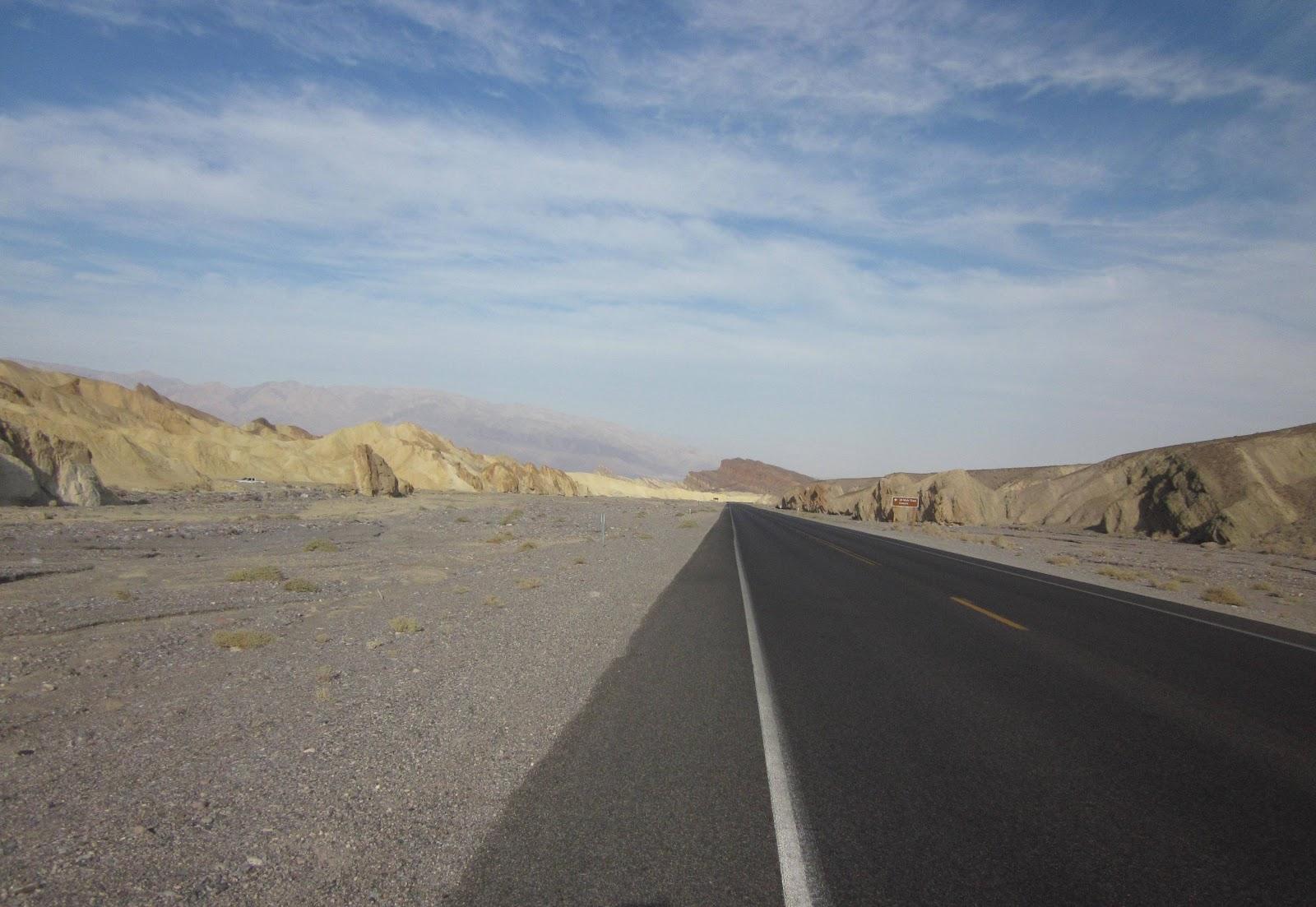 Biking Dantes View Death Valley - Hwy 190 road