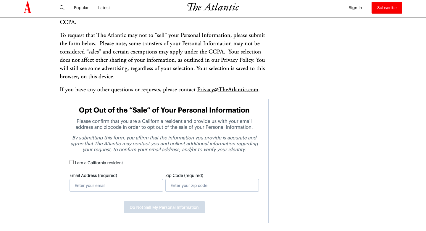 An opt-out form on the 'Do not sell my personal information' page on Atlantic website.