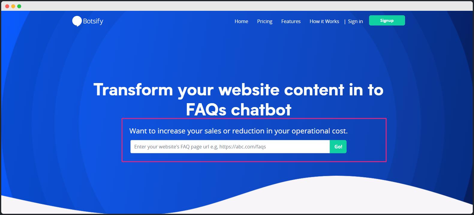 Botsify FAQbot sign up page