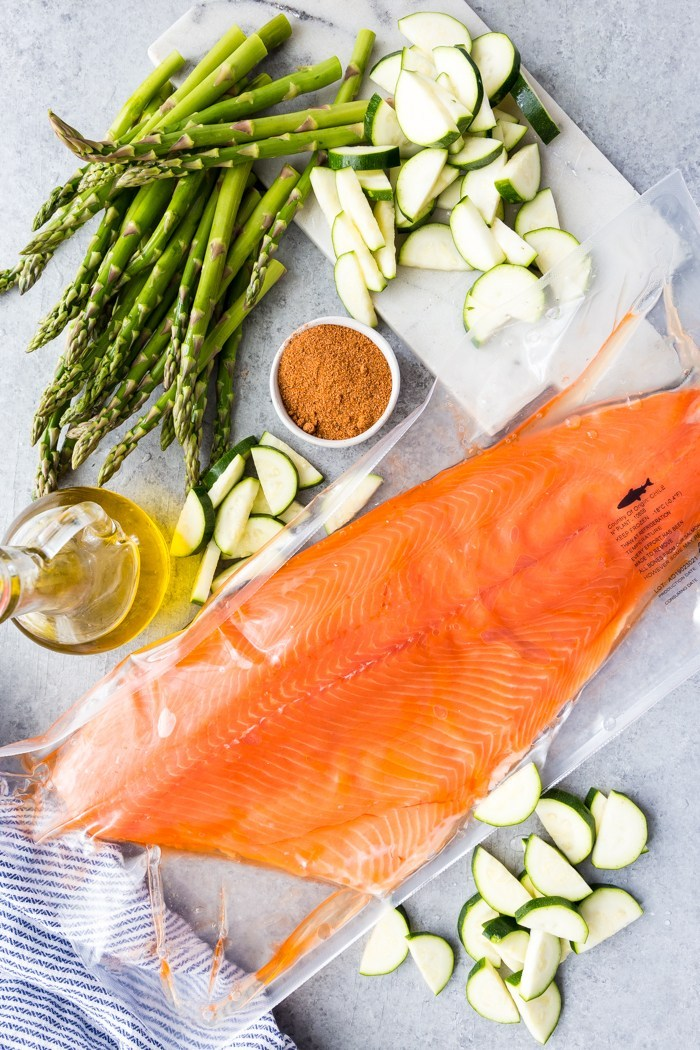 Coho Salmon fillet and other fixings for a sheetpan salmon dinner
