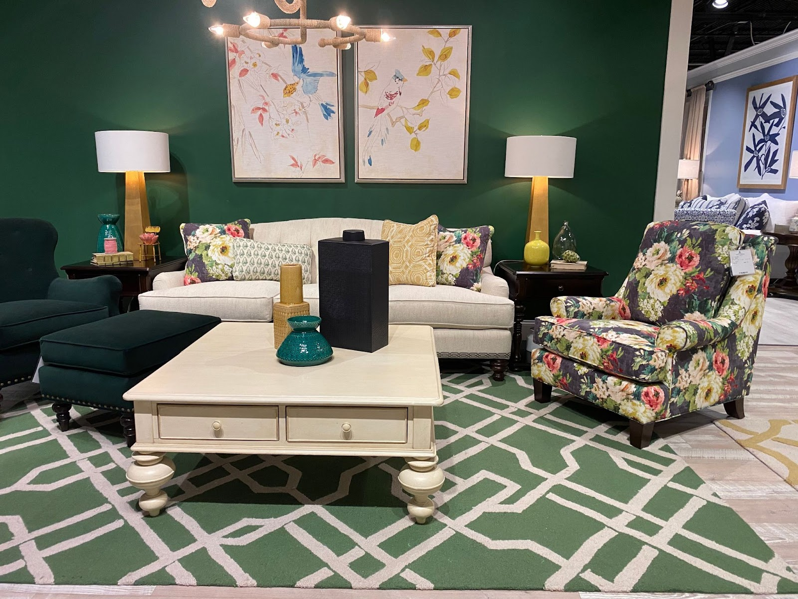 superior-construction-lebanon-tn-select-durable-fabrics-showroom-living-room-set-with-floral-patters-green-wall-and-accent-chair