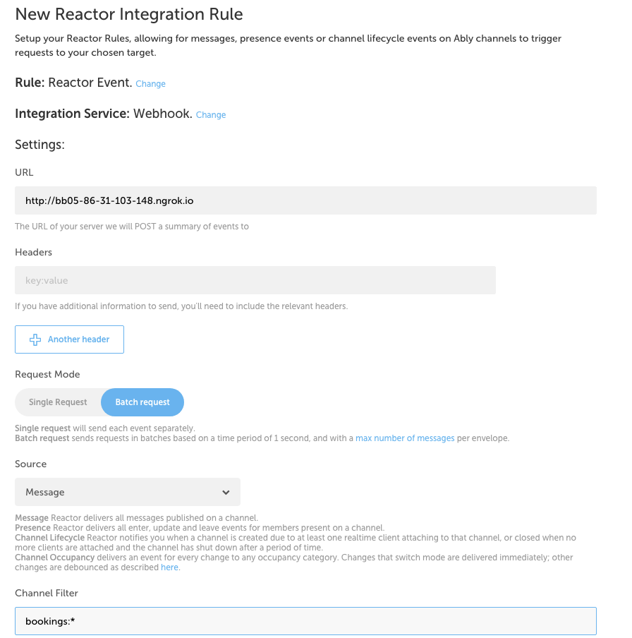 Setting up a new integration rule in Ably