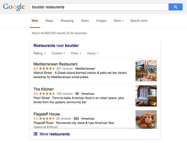 New Google Carousel feature for local results