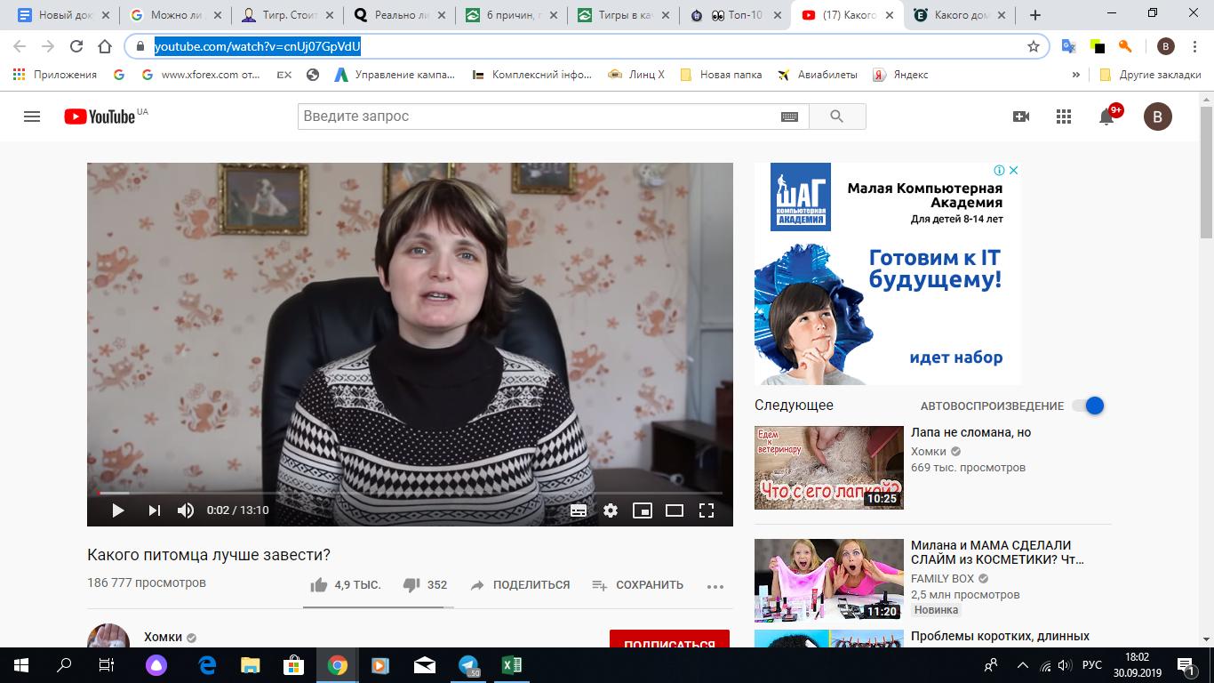 Скрин YouTube канала, на котором Вам расскажут какого питомца вам лучше выбрать