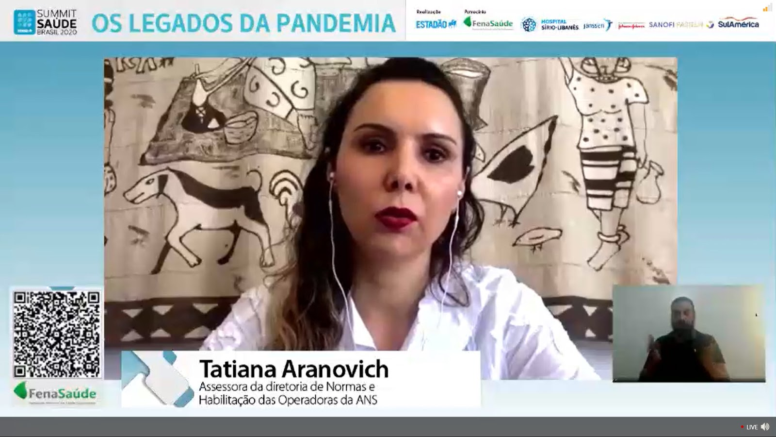 """""""Temos de buscar um modelo sustentável, e não o aumento de custos ano a ano. Nesse cenário, o reajuste não se torna mais prioritário"""", defende Tatiana Aranovich. (Fonte: Summit Saúde Brasil 2020/Reprodução)"""