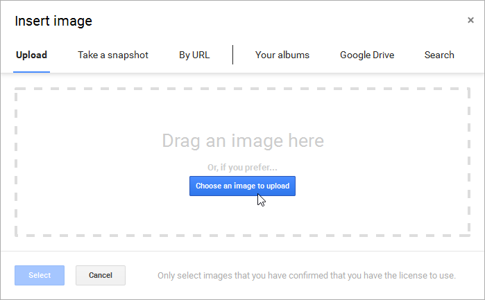 Clicking Choose an image to upload