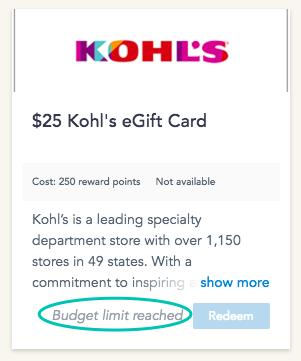 reward redemption Cooleaf Kohl's eGift Card