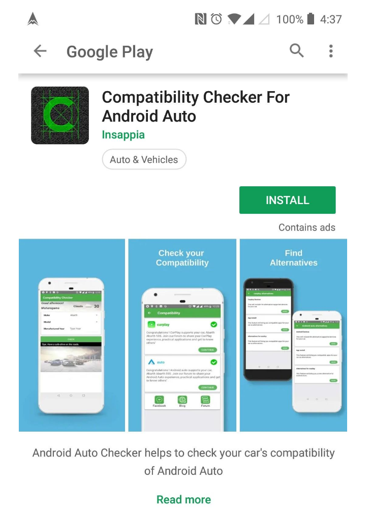 compatibility checker for android auto playstore install