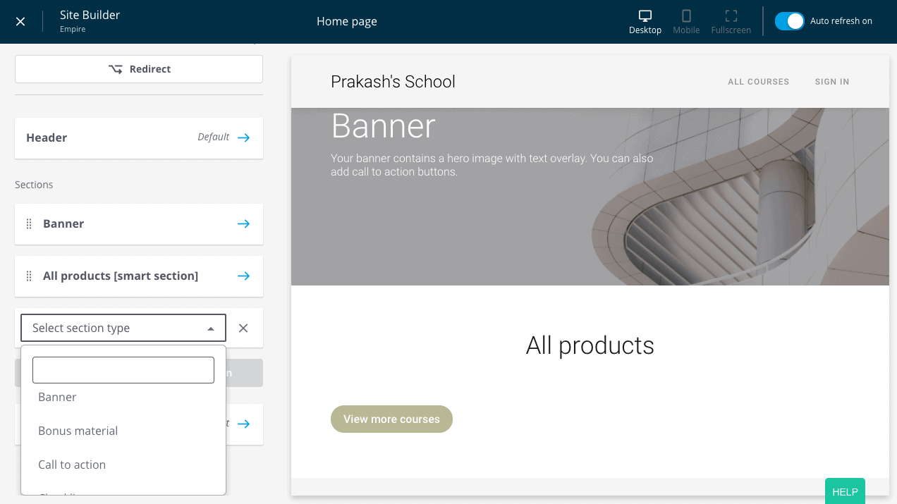 Thinkific Drag-and-Drop Page Builder